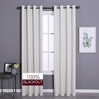 Amzdecor 100 Full Blackout Window Curtains for Bedroom Panel Pair Ivory 84 inches Thermal Insulated Noise Reduction Draperies (Ivory, 2 Pieces, 104