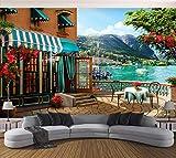 Papel Pintado 3D Café Balcón Garden Lago Vista Fotomural 3D Papel Tapiz Moderno Papel Pintado Pared Dormitorio 400cmx280cm