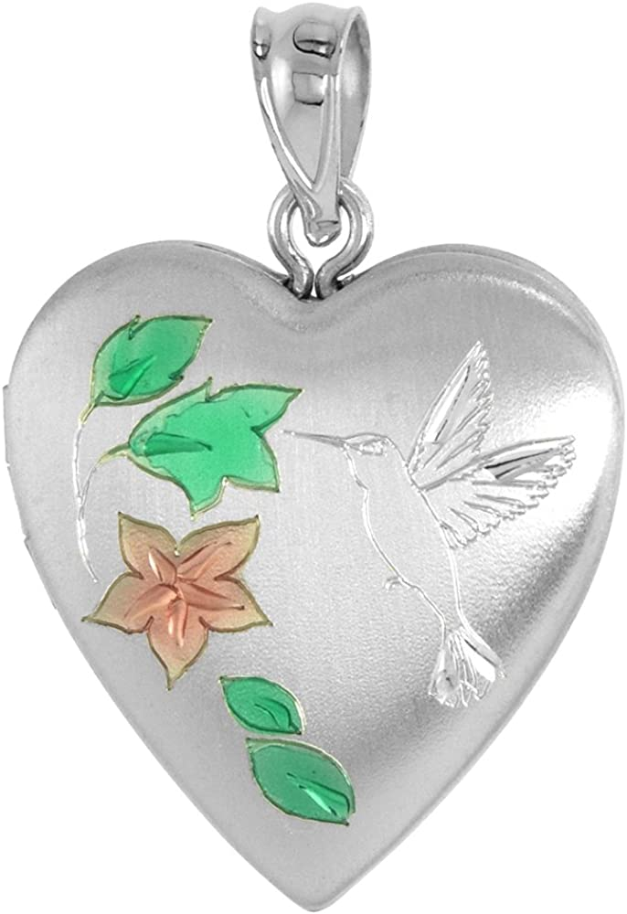 3 4 inch Sterling Silver 2021 new Hummingbird Necklace All stores are sold H Women for Locket