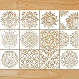 12 Pieces Large Reusable Mandala Stencil Painting on Wood DIY Design 12 Inch Templates Scrapbooking Painting for Wall, Furniture, Canvas, Paper, Fabric, Decoration