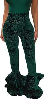 Womens High Elastic Waisted Ruffle Bottoms Leggings Velvet Stretchy Flare Pants