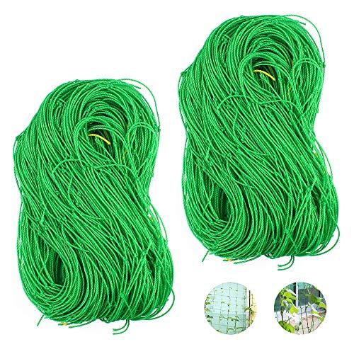 2pcs Ranknetz Rankhilfe Netz mit Großer Maschenweite 1.8 x 3.6m Gartennetz Stütznetz Pflanzennetz für Kletterpflanzen Gurken Tomaten Gewächshaus, Grün