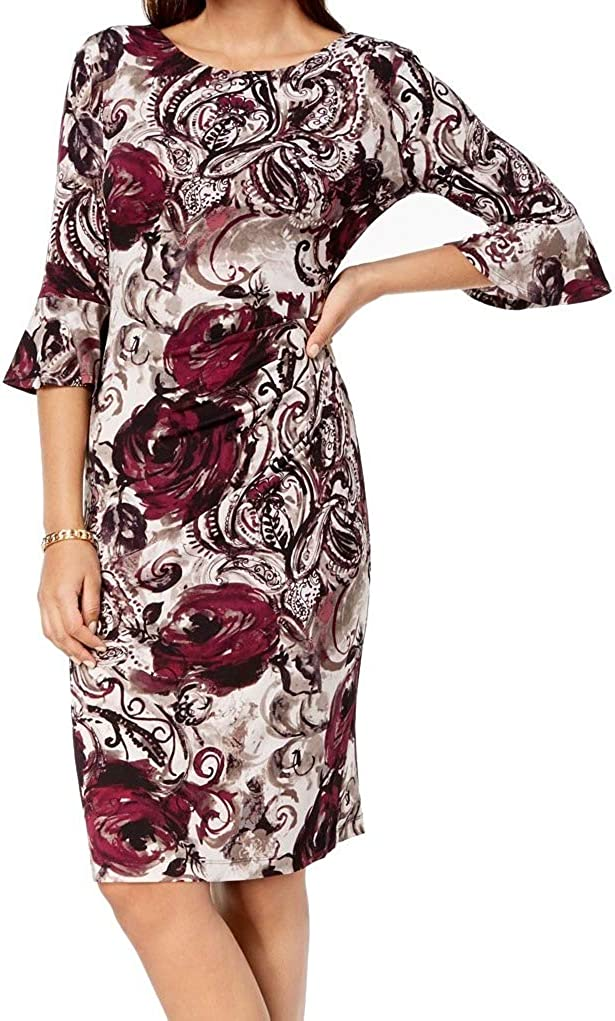 CONNECTED APPAREL Women's Floral Jersey Bell Sleeve Sheath Dress