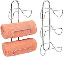 mDesign Modern Decorative Metal 3-Level Wall Mount Towel Rack Holder and Organizer for Storage of Bathroom Towels, Washclo...