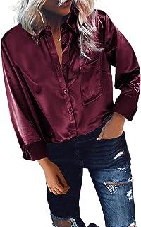 GOSOPIN Women Retro Satin Long Sleeve Button Down Shirt Blouse