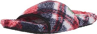 Sanuk Women's Furreal Chill Slide Sandal, Red Plaid, 7 M US