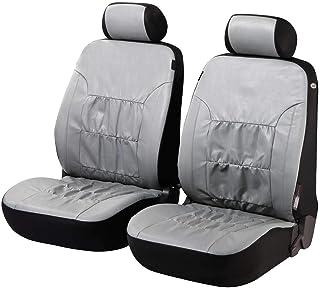 Walser 11941 Autositzbezüge Nappa Touch für Vordersitze aus Kunstleder, grau, seitenairbagtauglich, TÜV geprüft mit ABE