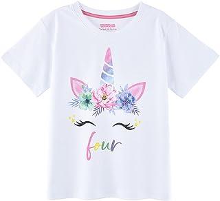 WAWSAM 4 Años Cumpleaños Camisetas Unicornio Camisa de Unicornio para Niña