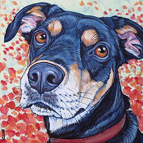 Lazodaer Kit de pintura de diamante 5D por número, con diamantes de imitación de cristal completo, para decoración de pared, mirando hacia atrás al perro, 30 x 30 cm