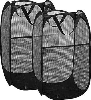 Simplized Popup Laundry Hamper  1 & 2 Pack  Foldable Pop-up Mesh Hamper Dirty Clothes Basket w Carry Handles  Black-Regular 2