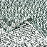 Pergamon Hampton - Alfombra de Interior y Exterior - Doble Cara -Tejido Llano - Verde Moteado - 5 tamaños