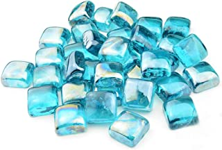 Stanbroil 10-Pound 1-Inch Fire Glass Cubes for Fireplace Fire Pit, Caribbean Blue Reflective