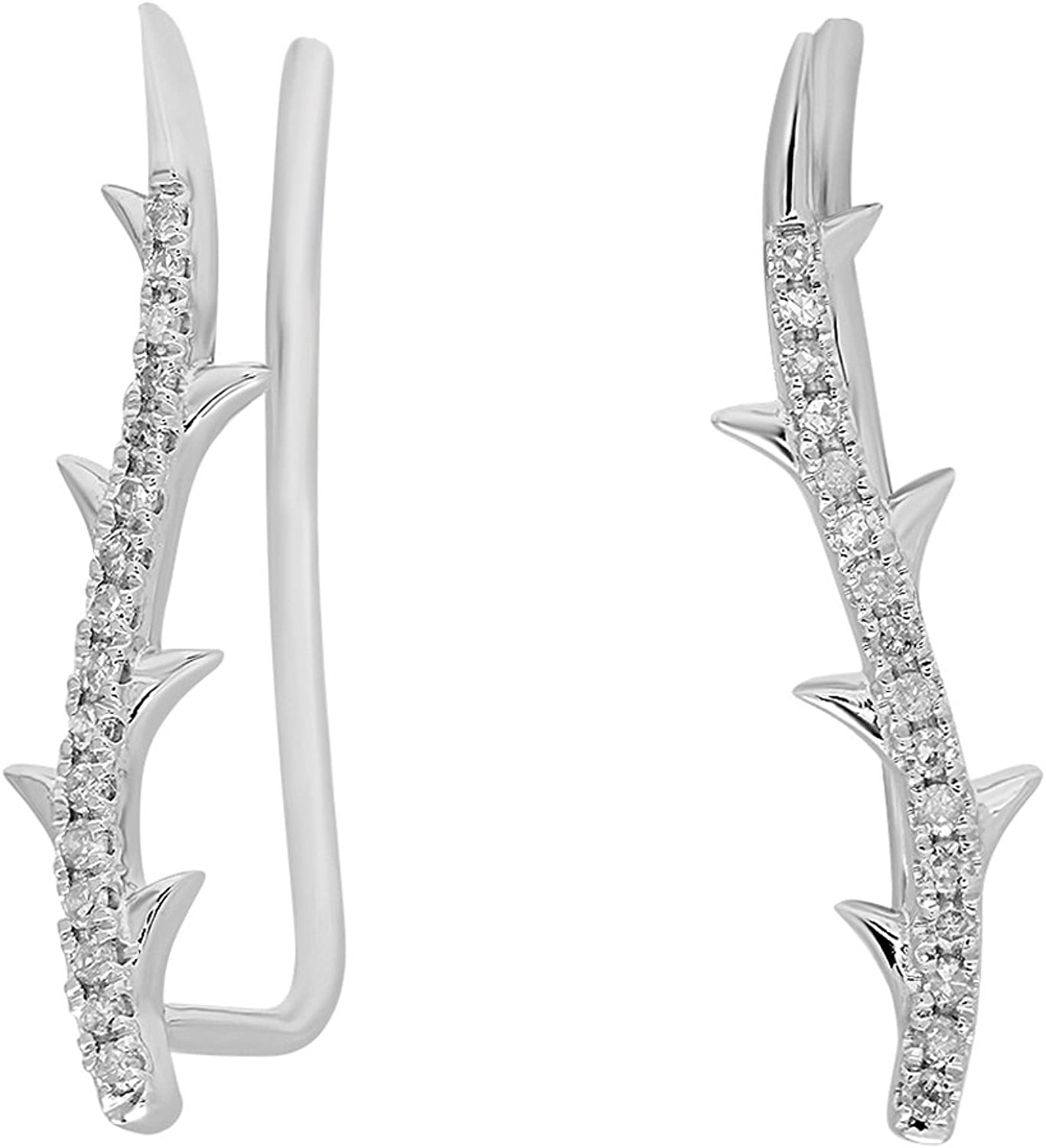 0.15 Carat (ctw) 10K White gold Round Cut White Diamond Ladies leaf shaped Climber Earrings