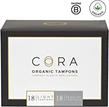 Cora Organic Cotton Tampons with BPA-Free Plastic Compact Applicator; Chlorine & Toxin Free - Variety Pack - Light/Regular (36 Count) (Packaging May Vary)