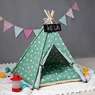 EODPOT Husdjur hundsäng tält, hundgård sällskapsdjur tipitält lekhus hund lektält katter hundar säng avtagbar och tvättbar...