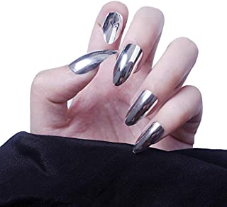 MISUD Metallic Fake Nails Almond Shape Gorgeous Reflection Chrome Nails 24 Pcs Mirror Silver Full Cover Press on False Nails