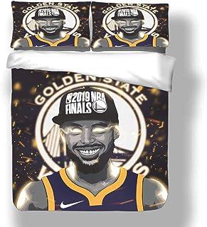 Juego de funda nórdica Stephen Golden State Jugador de baloncesto 30 ropa de cama Chef Curry Warriors Super Star Shoot An Air Ball Colcha de edredón de descanso rápido con 2 fundas de almohada Antorch