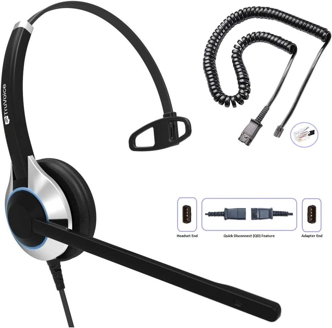 TruVoice HD-500 Deluxe Single Ear Headset with Noise Canceling Microphone & U10P Bottom Cable Works with Mitel, Nortel, Avaya Digital, Polycom VVX, Shoretel, Aastra, Digium, Allworx, ESI + More