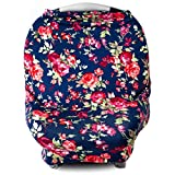 Car Seat Cover for Babies, Nursing Cover, Carseat Canopy - Vintage Navy Floral
