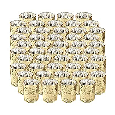 SUPREME LIGHTS ·2017· Gold Votive Candle Holder-Set of 48 Wedding Centerpieces for Table, Mercury Glass Tealight Candle Holders Bulk for Birthday |Party |Home Decoration