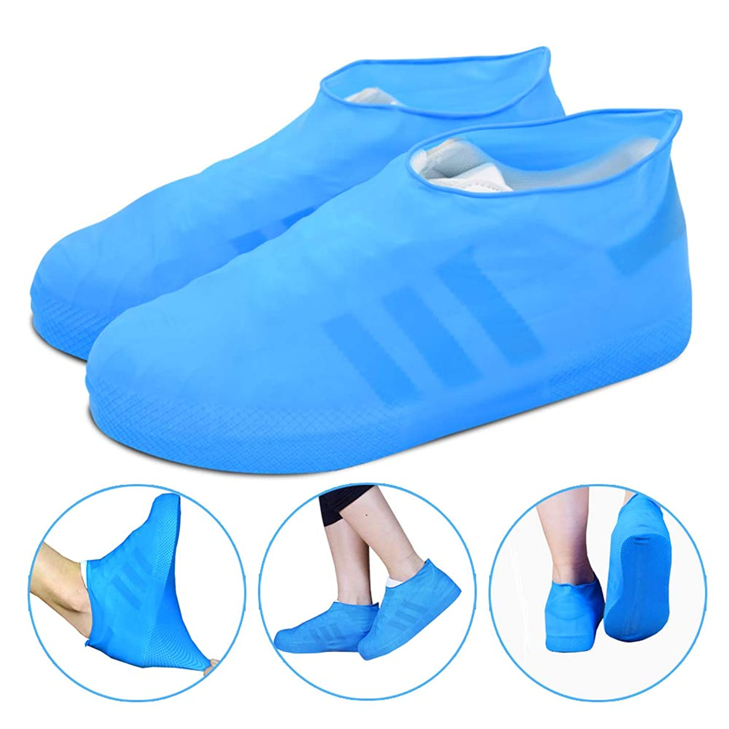 Reusable Rain Snow Boot Shoe Covers, Waterproof Rain Socks, Silicone Rubber Shoes For Men Women Kids, Durable Slip-Resistant Protectors Overshoes For Indoor and Outdoor (blue) (Medium)