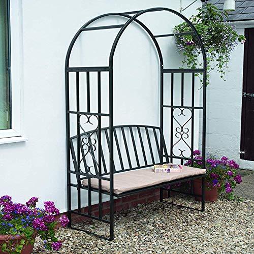 Gr8 Garden Metal Steel Black Rose Arch Trellis Climbing Plants Roses With Bench Seat Pergola Wedding Outdoor