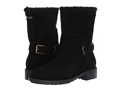 Cole Haan Quiana Bootie Waterproof (Black Suede/Black Shearling/Black/Antique Brass) Women