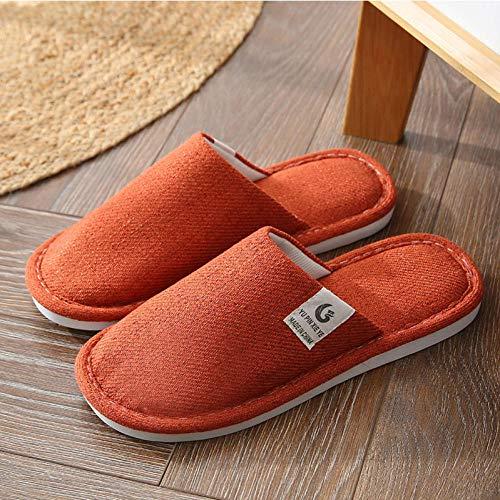Zapatillas Casa Hombre Mujer Invierno Zapatillas De Interior Zapatos De Mujer Zapatillas De Dormitorio Antideslizantes Casa Unisex Warm-Orange_10.5