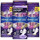 Always Radiant Feminine Pads for Women, Size 5, 54 Count, Extra Heavy Overnight, with Wings, Scented (18 Count, Pack of 3 - 54 Count Total)