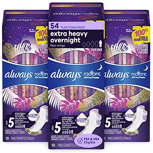 Always Radiant Feminine Pads for Women Size 5 54 Count Extra Heavy Overnight with Wings Scented 18 Count Pack of 3  54 Count Total