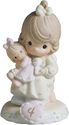Precious Moments Brunette Girl with Doll Age 4 Figurine