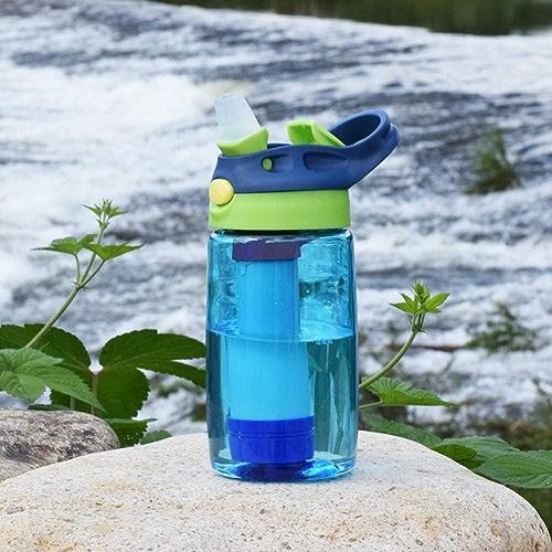CORB Tasse de Filtre pour Enfants, Bouteille portable purificateur Bouteille purificateur d'eau d'urgence Compass avec Paille Filtre intégré à 3 Niveaux pour randonnée