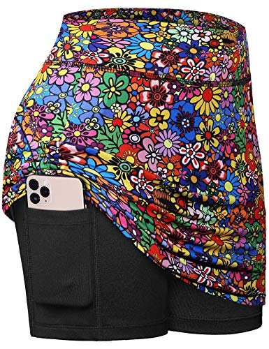 Fulbelle Athletic Skirt, Teen Girls Summer Tennis Golf Skorts for Women with Pockets Pencil A Line Skirt High Waisted Elastic 2020 Fashion Juniors Clothes Colorful Flower Small
