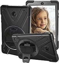 CCMAO Galaxy Tab A 8.0 2018 Case, SM-T387 Case, [Hand Strap] 360 Degree Rotating Kickstand Full-Body Impact Resistant Cover for Samsung Galaxy Tab A 8.0 Inch 2018 (SM-T387 Verizon/Sprint) (Black)