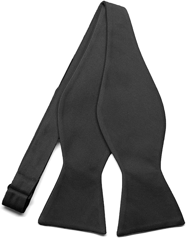 TieMart Regent Morris Neckwear Black Cotton/Silk Self-Tie Bow Tie