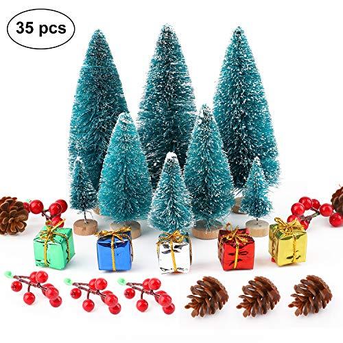 Ulikey 35 Stück Künstlicher Weihnachtsbaum, Mini Grün Tannenbaum Sisal Weihnachtsbaum Modell Bäume Schneetannen Weihnachten Miniatur Deko mit Tannenzapfen für Tischdeko, DIY, Schaufenster