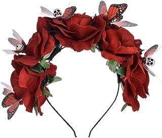 Frida Kahlo Mexican Flower Crown Headband Halloween Party Costume Dia de Los Muertos Headpiece NC25