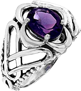 Vintage Sterling Silver Trinity Ring with Genuine Amethyst
