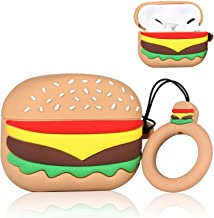 Punswan Hamburger Airpod Case for Airpods Pro/3, Cute 3D Funny Cartoon Character Soft Silicone Catalyst Pony Cover, Kawaii Fun Cool Keychain Design Skin,Fashion Cases for Girls Kids Boy Air pods Pro 3