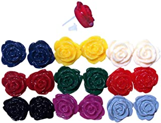 Hypoallergenic Nine Sets Rose Flower Plastic Earrings with Flexible Nylon Plastic Posts Earring Studs