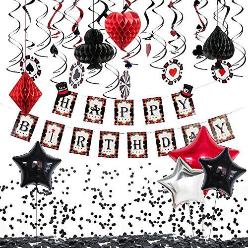 Casino Birthday Party Decorations Supplies Las Vegas Theme Party Decorations Happy Birthday Banner, Card Balloons, Casino Confetti, Poker Pom Poms, Casino Hanging Swirls for Poker Card Las Vegas Party Decorations