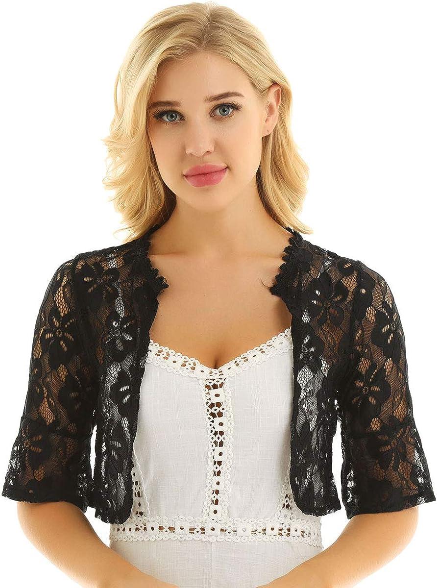 inlzdz Women's Crochet Floral Lace Open Front Bolero Shrugs Cardigan for Wedding Evening Dresses