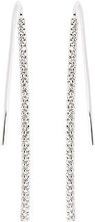 Agatha Women's Long Wire Hook Earrings,Curved Pavé Set - 02320224-136-TU
