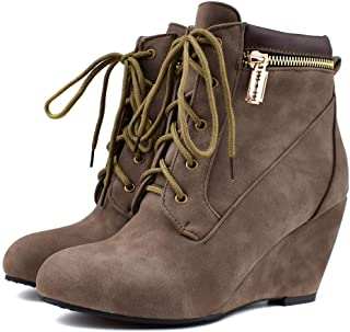Women Lace-Up Wedge Boots, Large Size Flock Boots, Side Zipper Wedge Shoes Ankle Shoes