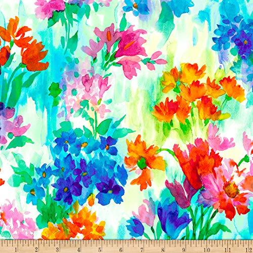 QT Fabrics Knit Full Bloom Watercolor Floral, Multi Yard
