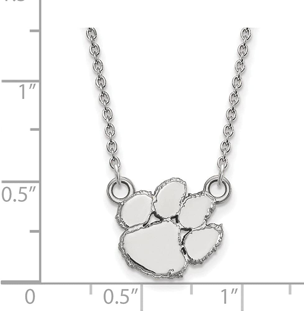 Solid 925 Sterling Silver Official Clemson University Small Pendant Necklace Charm Chain Width = 13mm with Secure Lobster Lock Clasp