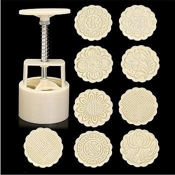 Venus valink - Set di stampi a pressione, da 100 g, motivo fiore e foglia, in ABS, per torta lunare, pasticceria, cioccolato, accessorio da cucina, con 9 stampi e 1 timbro
