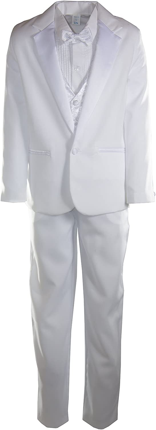 White 1 Button Notch Tuxedo with Paisley Vest and Bow Tie