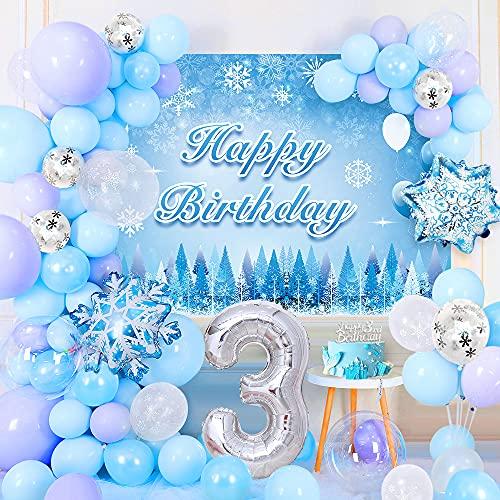 3 Anno Congelato Decorazioni Compleanno Ragazze, Frozen Kit Arco Con Ghirlanda Di Palloncini con Sfondo Poster, Cake Topper, Palloncini Foil Fiocco Di Neve Coriandoli Bianco Blu Viola
