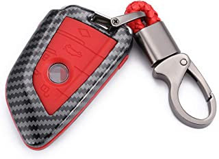 WFMJ Red Carbon Fiber + Silicone Button Smart Remote 4 Buttons Key Fob Cover Case Shell Fob for BMW 2 5 6 7 Series X1 X2 X...